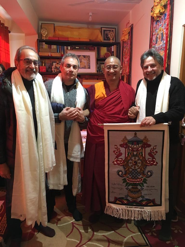 I tre ricercatori Pisani con H.E. Choekyi Nangpa.jpg